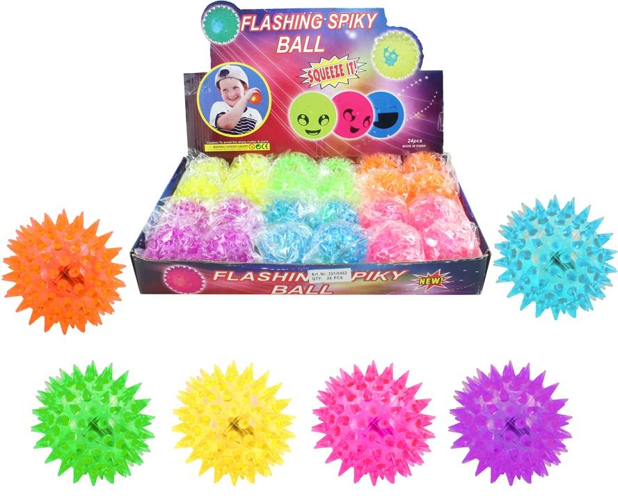 Ball - Stachelspringball mit Licht 6-fach sortiert ca 5,5 cm