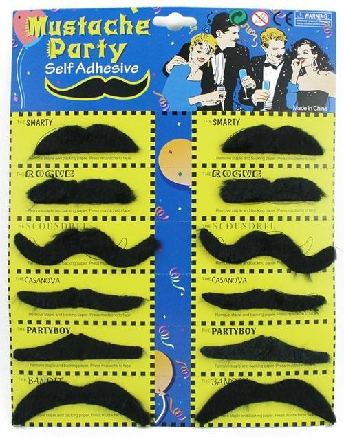 Schnurrbart 12 er Set - an Karte ca 28x21cm
