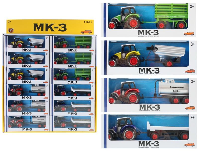 Traktor METALL mit Anhänger 4-fach sortiert - ca 20-22cm