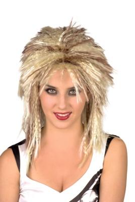 Perücke - 80er Rockerfrisur gelb/blond mit brauen Strähnen