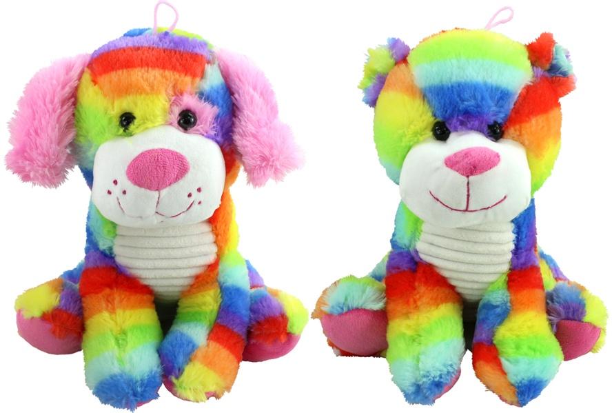 Bär und Hund sortiert in Regenbogenfarben ca 30cm