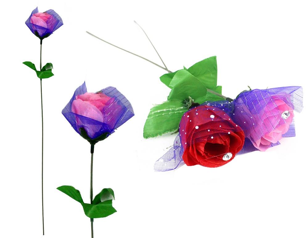 Rose mit Tüll und Glitzerstein 2-fach sortiert  - ca 45cm