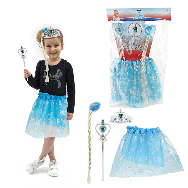 Ice Prinzessin Set mit Tutu, Tiara und Prinzessin Stab
