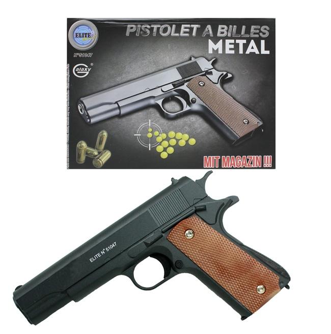 Kugelpistole aus Metall max 0,5 J mit Magazin ca 22 cm