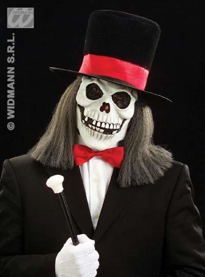 Maske - Totenkopf mit Hut und Haar
