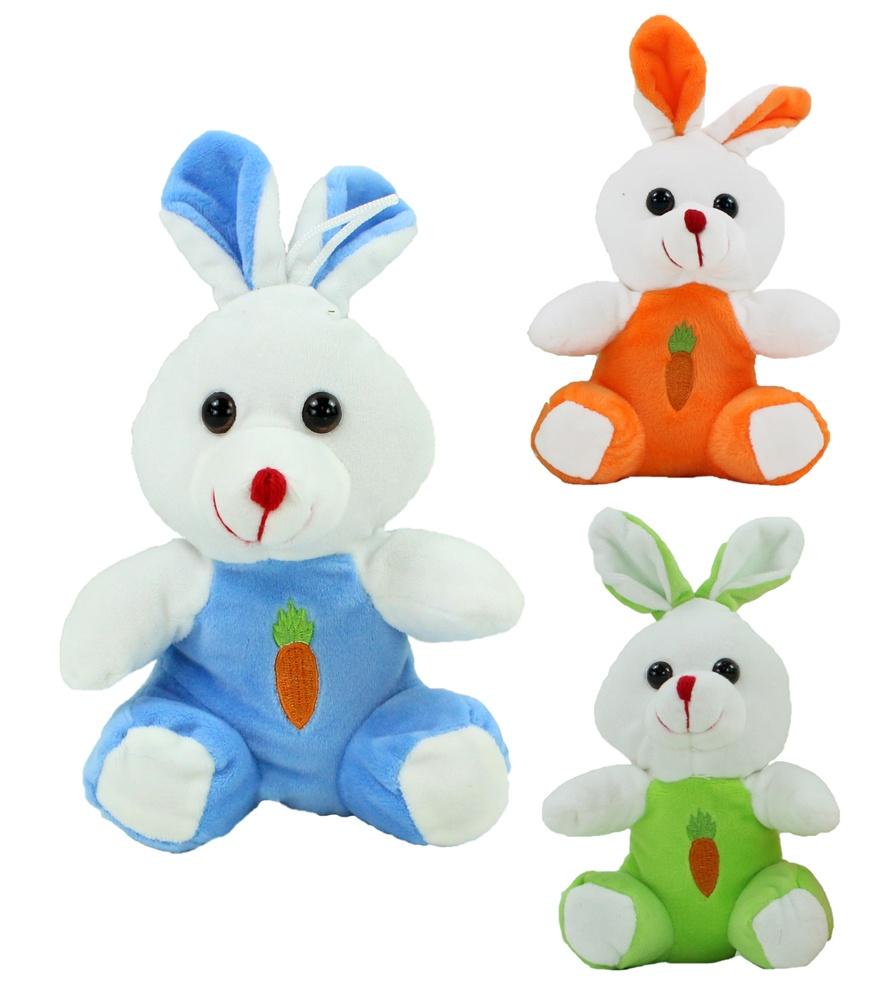 Hase mit gestickter Karotte auf der Brust  3 Farben ca 20 cm