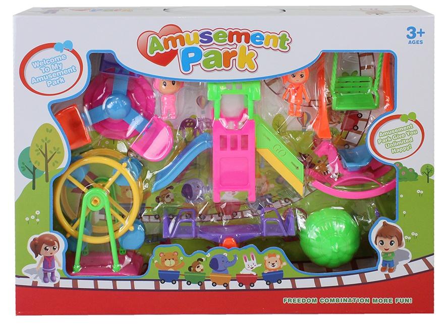 Spielplatz mit Spielgeräten und Figuren in Box ca 40x28x6cm