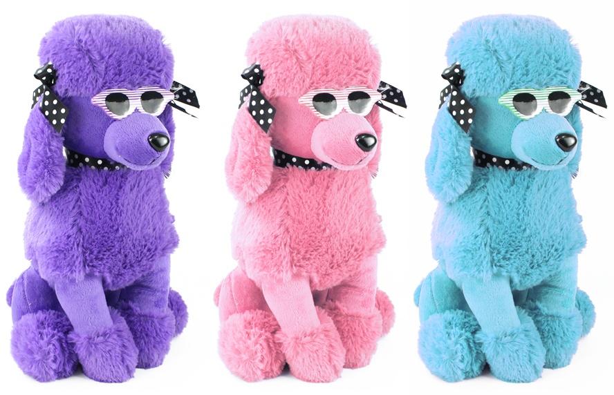 Pudel mit Sonnenbrille sitzend 3 Farben sortiert ca 40 cm