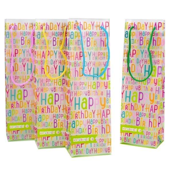 HAPPY BIRTHDAY Flaschen Geschenktüte ca 29x10x8cm