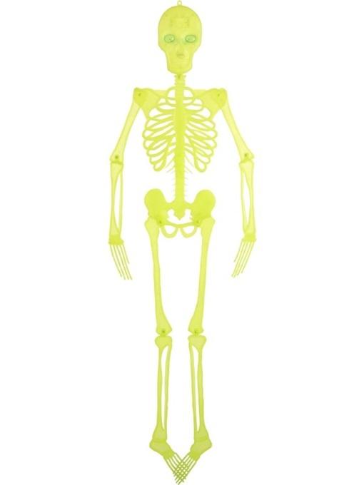 Skelett neon gelb mit leuchtenden Augen - ca 150cm