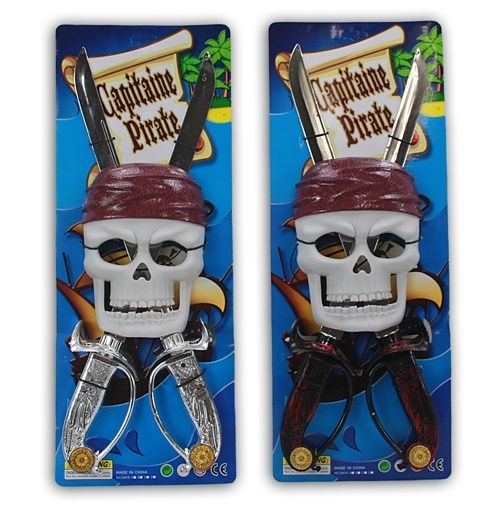 Piratenkarte - 2-f so Maske, 2 Schwerter -Karte ca 49,5x19cm