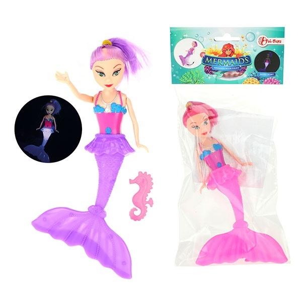 Meerjungfrau mit Licht 2 farbig sortiert ca 20 cm