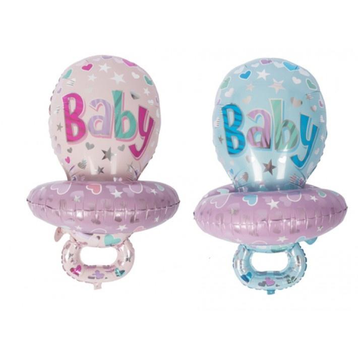 Ballon Baby Schnuller rosa & hellblau sortiert ca 86x59,5cm
