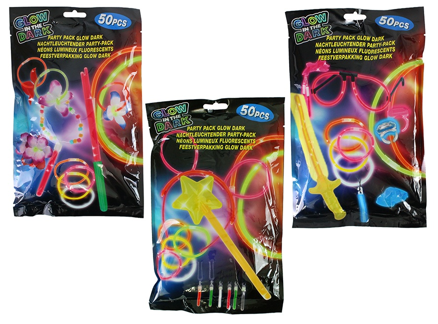 Party Set ,Glow in the Dark, 3 fach sortiert  je 50 Teile