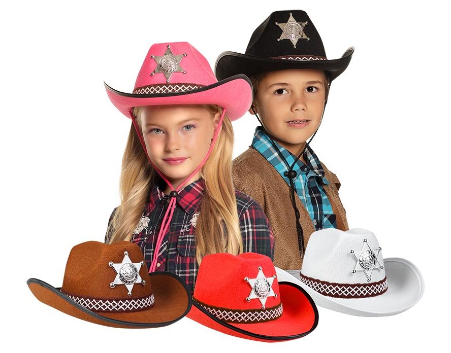 Cowboyhut Sheriff für Kinder 5 farbig sortiert