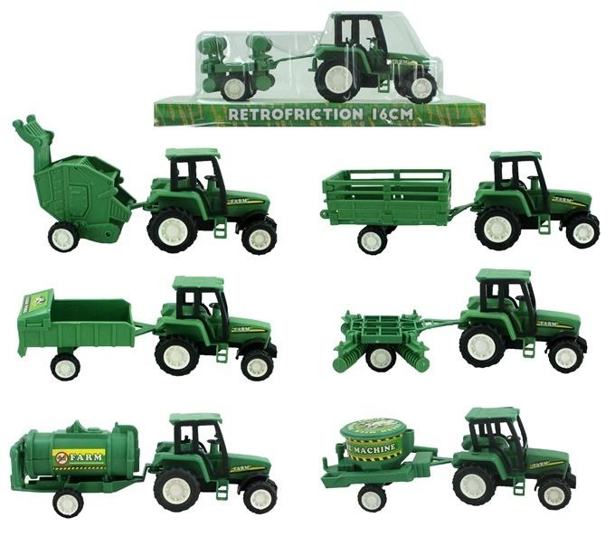 Traktor mit Anhänger 6-fach sortiert - ca 16cm