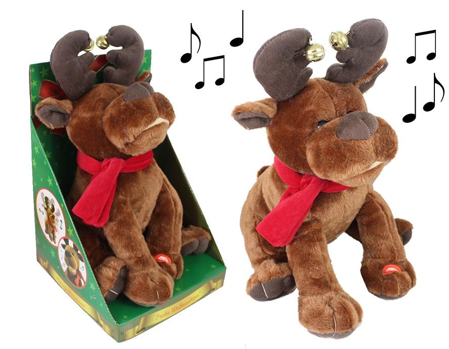 Weihnachtsrentier mit Sound und Bewegung ca 33cm