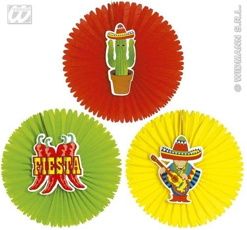 Papierfächer Mexico 3-fach sortiert - Durchmesser ca 55cm