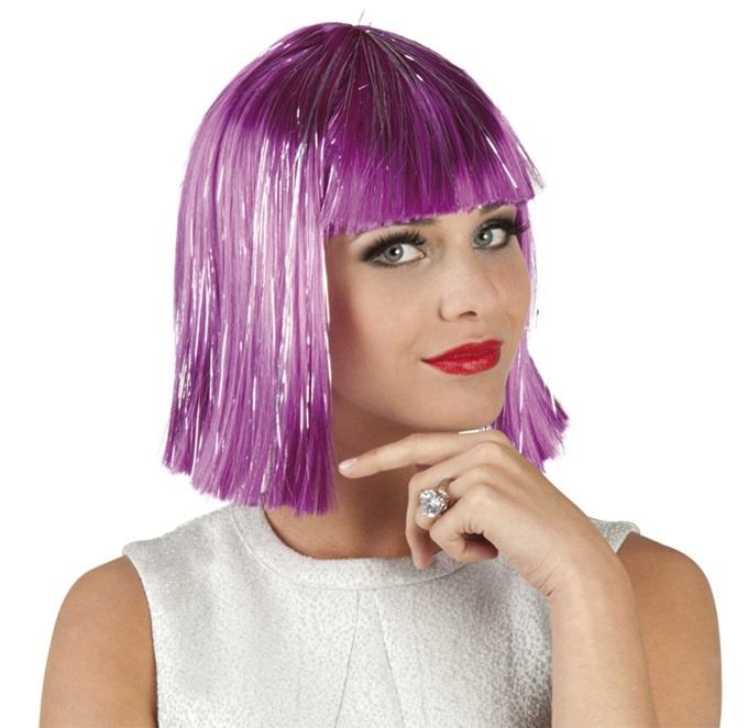 Perücke - Gigi glamour violett mit silber Lametta Strähnen