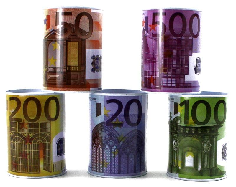 Spardose mit Euro-Design mehrfach sortiert - ca 10x7,5cm