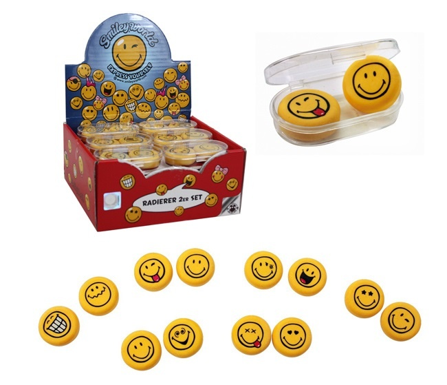 SMILEYWORLD Radiergummi 2er Set   Box ca 6cm original Smiley