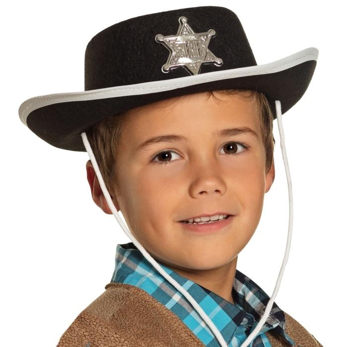 Cowboyhut mit Sheriffstern schwarz -für Kinder