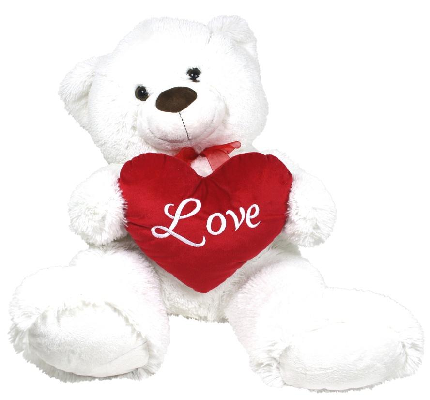 Bär sitzend weiß mit roter Schleife ca 61 cm