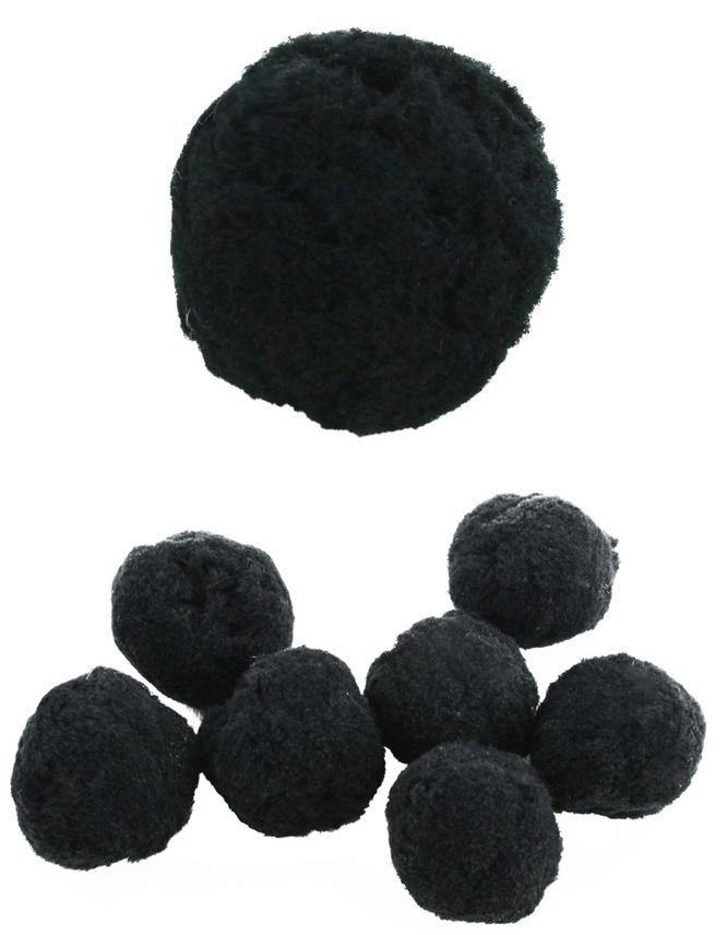 Bastelpompom Plüsch schwarz ca 30mm