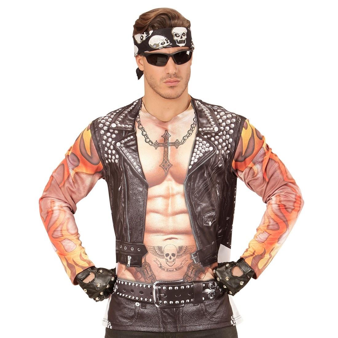 Biker Rocker T Shirt  (Fotorealistisches Longsleeve)