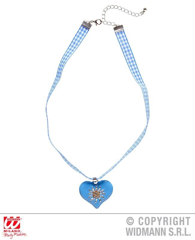 Halskette Band mit hellblaumen Herz und Strass Edelweiß